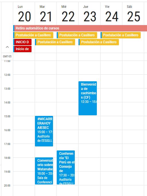 Anadir Calendario.Calendario Comunidad Eeggll Pucp Estudios Generales Letras