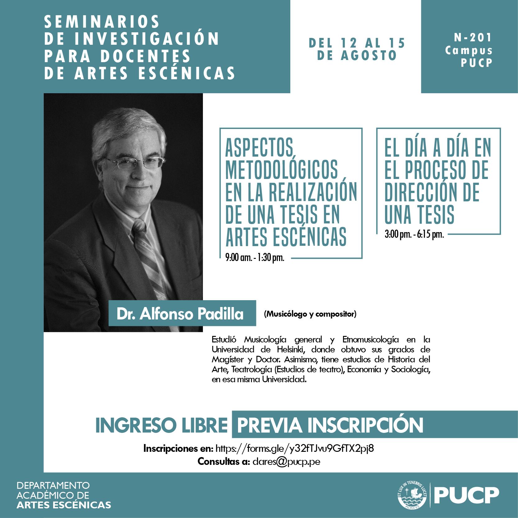 Invitado Internacional: Dr. Alfonso Padilla brinda talleres de investigación