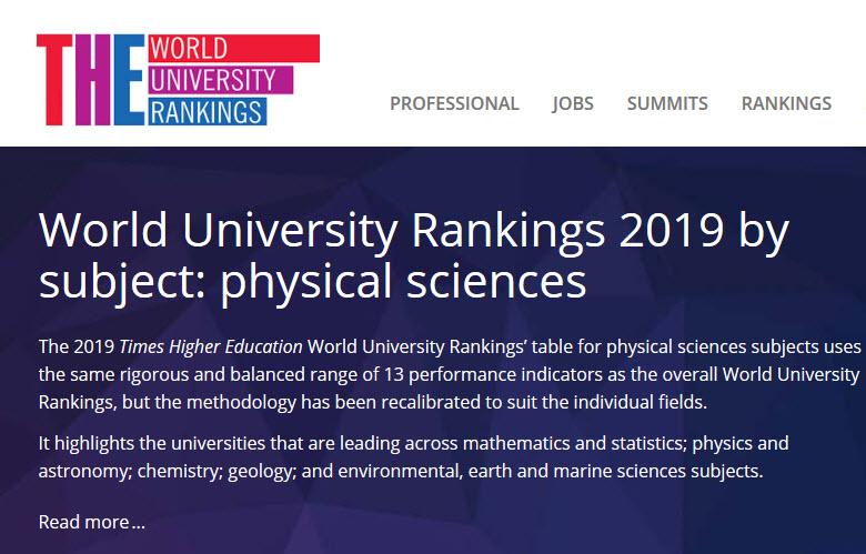 Ranking THE 2019 by Subject: PUCP líder en sus especialidades de Ciencias Físicas (Matemáticas y Estadística, Física y Astronomía, Química y otras afines)