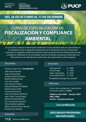 Curso de Especialización en Fiscalización y Compliance Ambiental