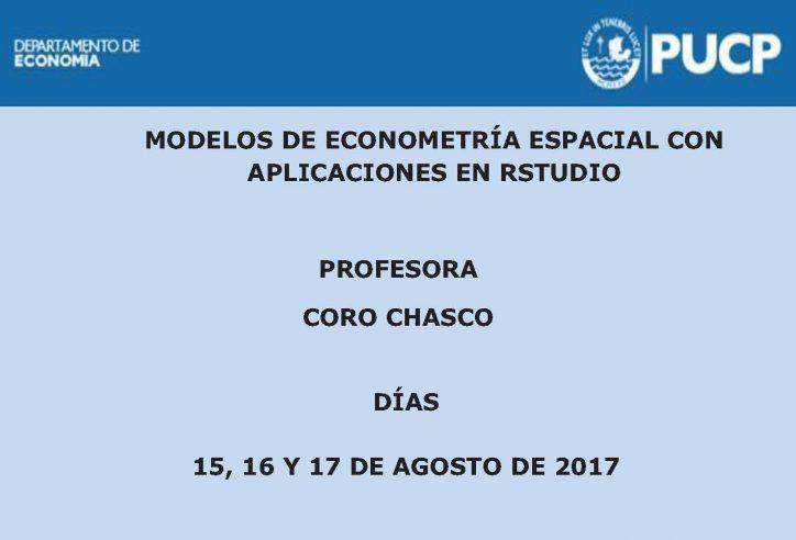"""Curso """"Modelos de Econometría Espacial con aplicaciones en RStudio"""" por la Doctora María del Coro Chasco"""