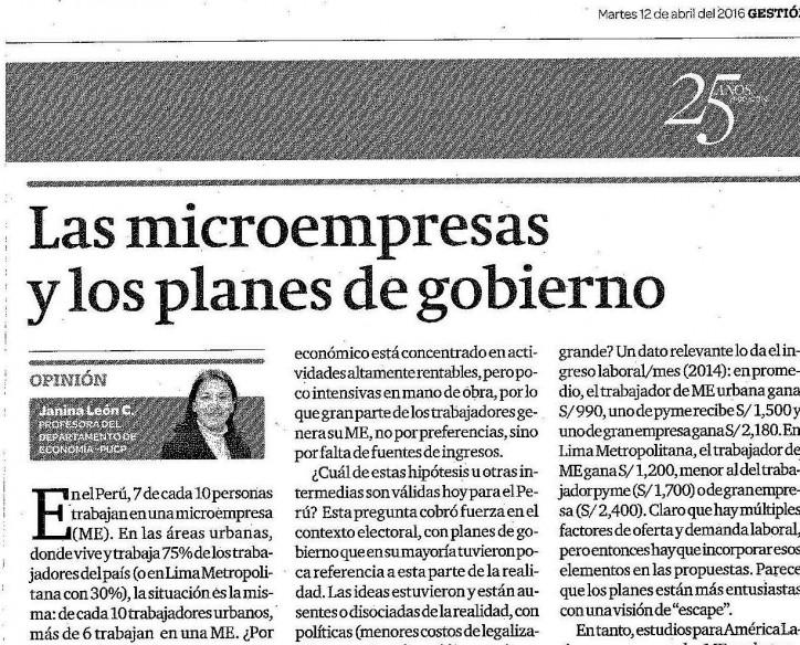 """Artículo de la profesora Janina León """"Las microempresas y los planes de gobierno"""" en Diario Gestión"""