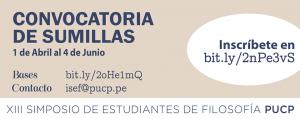 Convocatoria de Sumillas para el XIII Simposio de Estudiantes de Filosofía