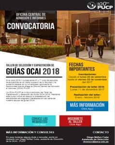 CONVOCATORIA TALLER CAPACITACIÓN Y SELECCIÓN DE GUÍAS OCAI 2018
