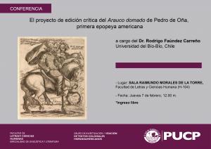 Conferencia | El proyecto de edición crítica del Arauco domado de Pedro de Oña,  primera epopeya americana